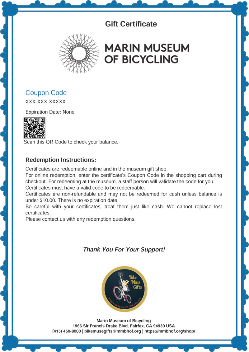 Gift Certificate Marin Museum Of Bicycling And Mountain Bike Hall